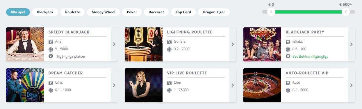 Spela Live Casino hos Speedy Casino