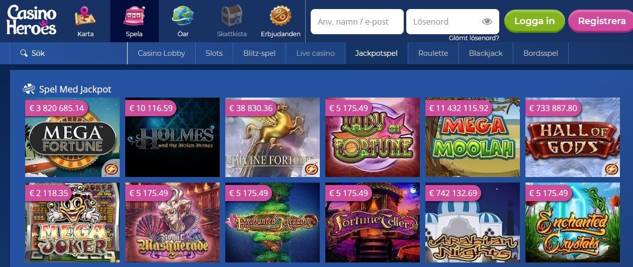 Spela jackpotspel hos Casino Heroes